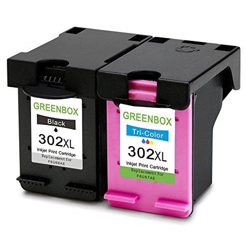 2 packung greenbox wiederaufbereitet hp 302 xl 302xl tintenpatronen ersatz 1x schwarz 1x farbig. Black Bedroom Furniture Sets. Home Design Ideas